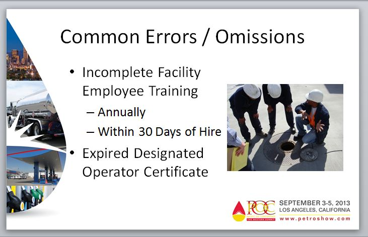 Example Slide - Common Errors - Expired Designated Operator Certification