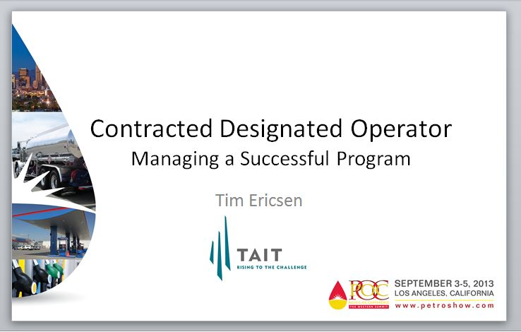 Contracted Designated Operator - Managing a Successful Program by Tim Ericsen, COO Tait Environmental Services
