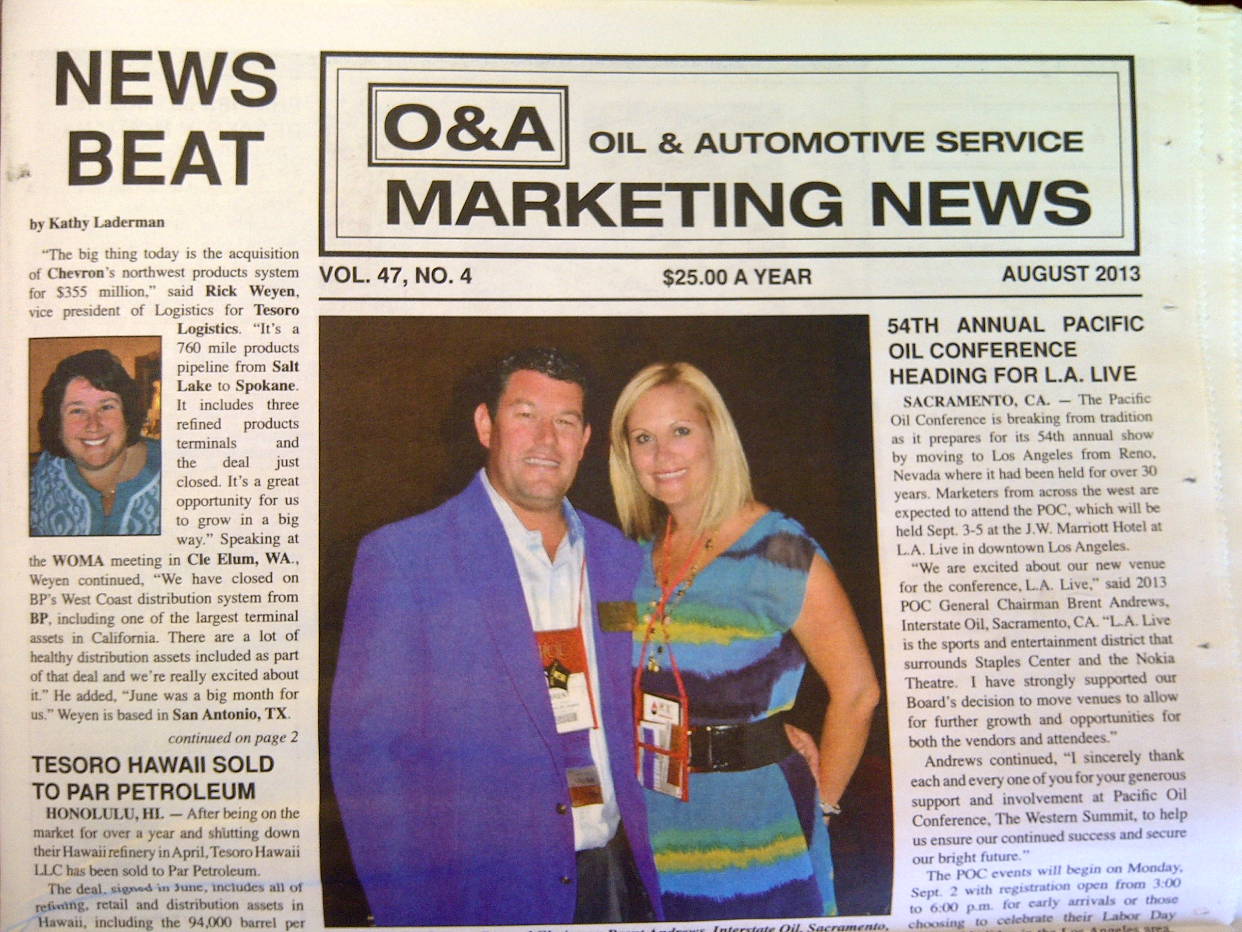 "Article Title Page - Tim Ericsen, COO of Tait Environmental Services, featured in the ""O&A"" Oil &Automotive Marketing News - for presenting ""Contracted Designated Operator - Managing a Successful Program"" at the 2013 Pacific Oil Conference in Los Angeles California September 3-5."