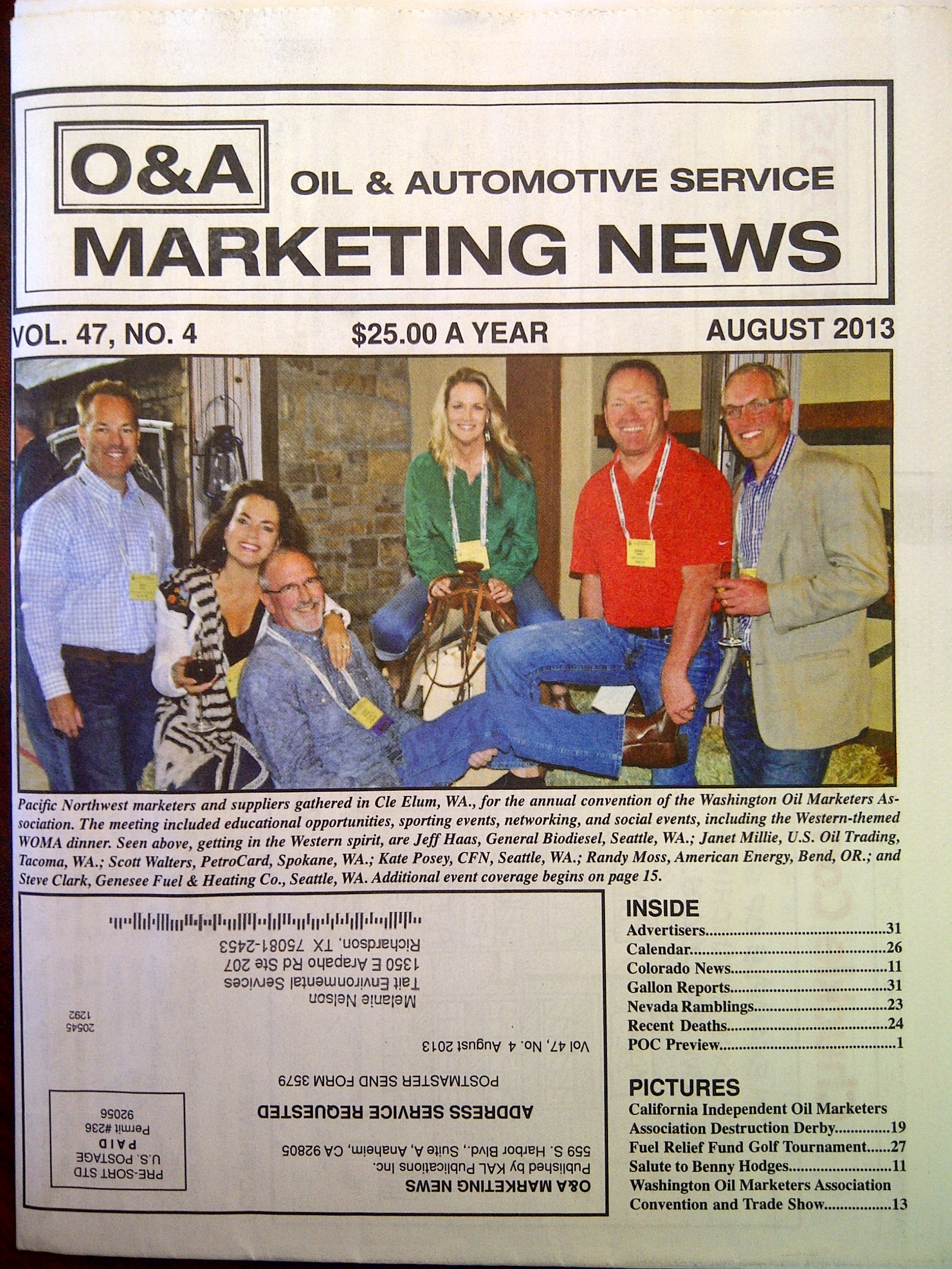 """Tim Ericsen, COO of Tait Environmental Services, featured in the """"O&A"""" Oil &Automotive Marketing News - for presenting """"Contracted Designated Operator - Managing a Successful Program"""" at the 2013 Pacific Oil Conference in Los Angeles California September 3-5."""