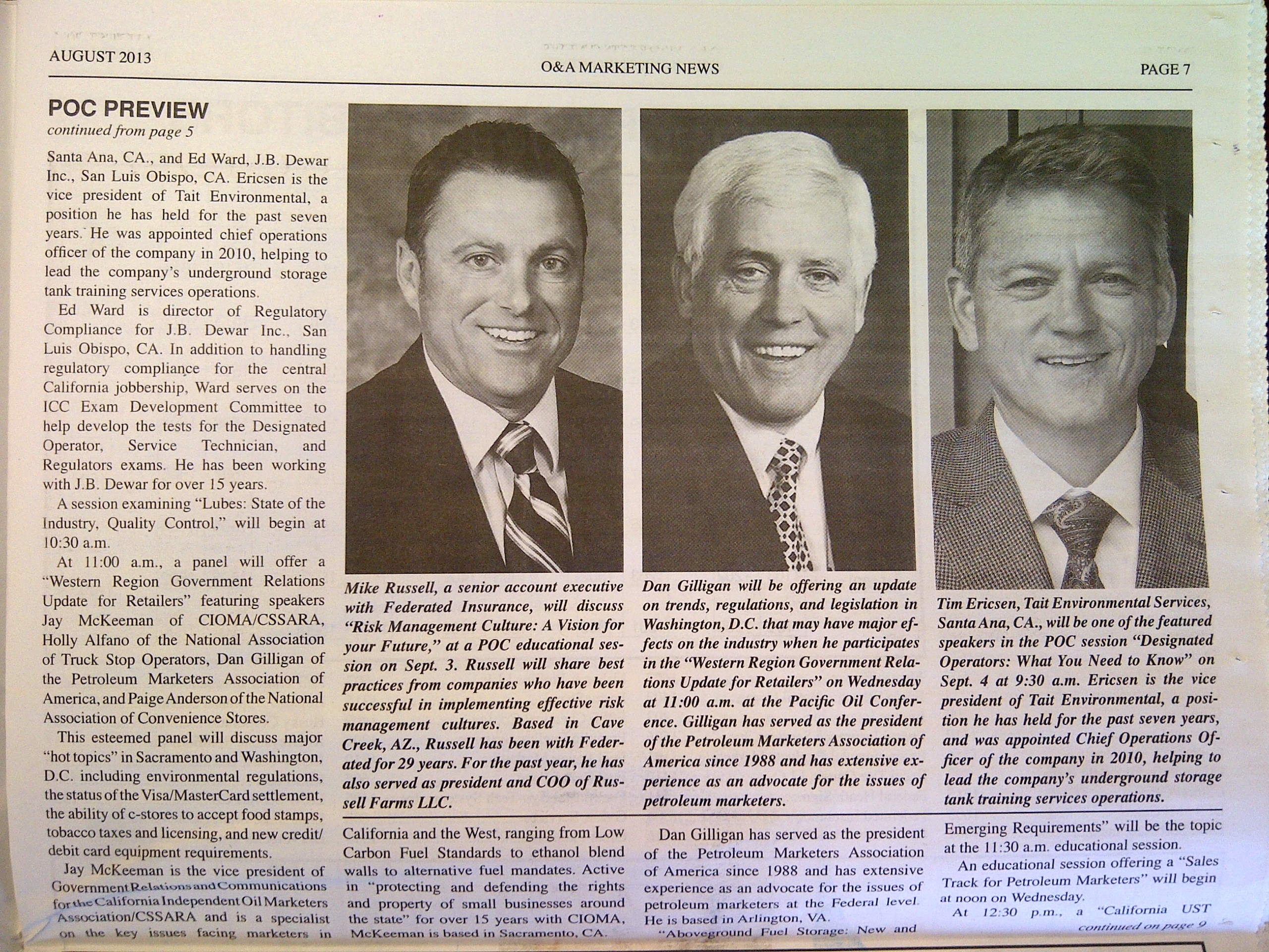 Tim Ericsen, COO of Tait Environmental Services, featured in the O&A Marketing News