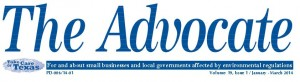 "TCEQ Publication ""The Advocate"" for and about small business and local governments affected by environmental regulations"