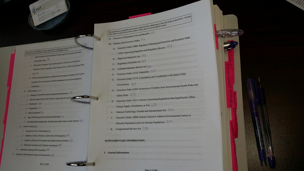 Picture of Melanie's 2015 UST Regulations Binder